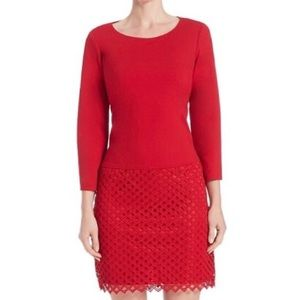 Laundry 3/4 Sleeve Shift Dress with Crocheted Lace
